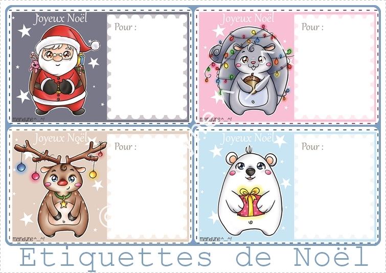 Mandyne Etiquettes Pour Les Cadeaux Du Pere Nowel